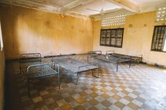 Prison of the Khmer Rouge high school S-21 turned into a torture and execution center. Of the 20,000 people known to have entered, only seven survived royalty free stock image