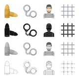 The prison lattice, handcuffs, the appearance of the criminal, cartridges. Prison set collection icons in cartoon black. Monochrome outline style vector symbol Stock Image