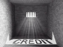 Prison with light and Credit Shadow. 3d Rendering Stock Photography