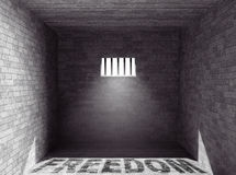 Prison with light and Freedom Shadow. 3d Rendering Royalty Free Stock Photography