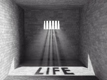 Prison with light and Life Shadow. 3d Rendering Royalty Free Stock Photo