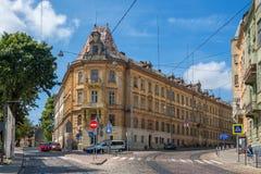 Prison nationale de musée de souvenir sur la rue de Lacki à Lviv, Ukraine photographie stock libre de droits