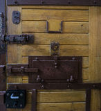 Prison. Old wood and metal cell door in polish prison Stock Photo