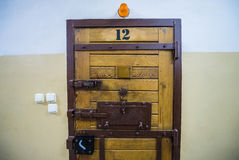 Prison. Old wood and metal cell door in polish prison Stock Photography