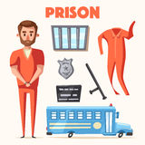 Prison with prisoner. Character design. Cartoon vector illustration. Criminal in orange uniform Stock Image