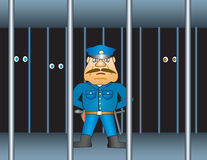 Prison proctor. Gaoler or policeman in the prison. Vector stock illustration