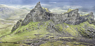 The Prison rock at the Quiraing on Skye in Scotland. Royalty Free Stock Photography