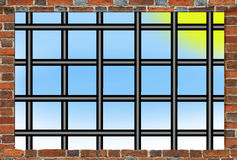 Prison's bars and wall from brick Royalty Free Stock Photography