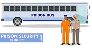 Prison security concept. Detailed illustration of prison bus, police guard and prisoner on white background in flat Royalty Free Stock Image