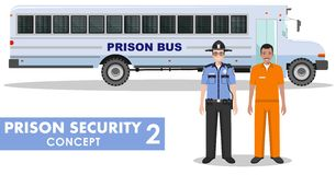 Prison security concept. Detailed illustration of prison bus, police guard and prisoner on white background in flat Stock Image