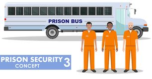 Prison security concept. Detailed illustration of prison bus and prisoners on white background in flat style. Vector illustration. Royalty Free Stock Photography