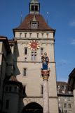 Prison Tower; Bern. Figure of Anna Seiler Brunnen by Gieng 16th Century with Prison Tower; Bern; Switzerland; Europe stock photos