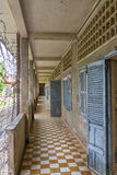 Prison of Tuol Sleng Genocide Museum at Phnom Penh, Cambodia. Prison with barbed wire in the Tuol Sleng Genocide Museum (S-21) at Phnom Penh, Cambodia. This Stock Image
