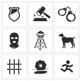 Prison Vector Icons Set Stock Images