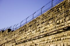 Prison Wall. With barb wire at the missouri state penitentuary in jefferson city, missouri royalty free stock photos
