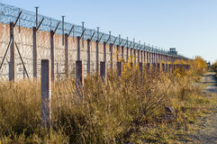 Prison wall and sharp wire barbs coiled Royalty Free Stock Photos