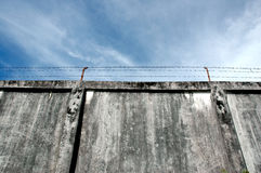 The prison walls. With high walls and barbed iron wire Stock Photography