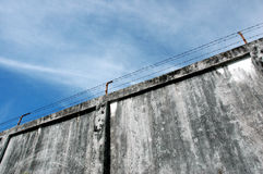 The prison walls. With high walls and barbed iron wire Royalty Free Stock Photos