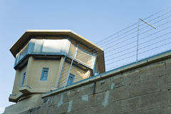 Prison watchtower. Watchtower of the old prison of the East-German secret police in Berlin, Germany stock photo