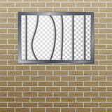 Prison Window With Bars And Brick Wall. Vector Pokey Concept. Prison Grid Isolated. Royalty Free Stock Photo