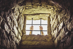 Prison window with metal bars Royalty Free Stock Photo