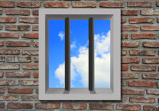 Prison window with sky. Royalty Free Stock Photography