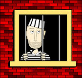 Prisoner. In the barred window, illustrated in a square format Royalty Free Stock Photography