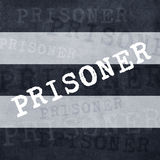 Prisoner. Striped prisoner costume pattern with text Prisoner on fabric background Stock Photos