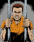 Prisoner. Drawing of a prisoner in a comic book format Royalty Free Stock Images
