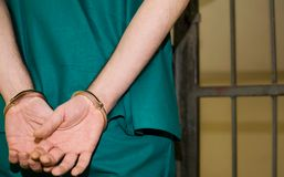 Prisoner. With handcuffs in the prison, crime concept Royalty Free Stock Photo