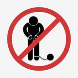 Prisoner with ball on chain icon Stock Photography