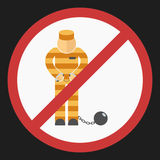 Prisoner with ball on chain icon Stock Photos