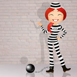Prisoner with ball and chain Royalty Free Stock Images