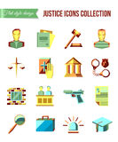 Prisoner at the bar. Set of law and justice flat icons with lawyer, jail court jury. Royalty Free Stock Photography