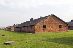 Prisoner barracks at Birkenau-Auschwitz Nazi concentration camp Royalty Free Stock Images