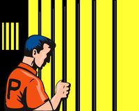 Prisoner behind bars Royalty Free Stock Photos