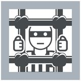 Prisoner behind bars icon Royalty Free Stock Photography
