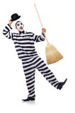 Prisoner with broom Royalty Free Stock Photos