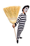 Prisoner with broom Stock Photos
