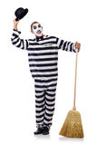 Prisoner with broom Royalty Free Stock Photo