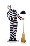 Prisoner with broom Royalty Free Stock Photography
