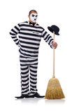 Prisoner with broom Stock Image