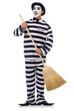 Prisoner with broom Royalty Free Stock Image