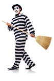 Prisoner with broom Stock Photo