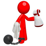 Prisoner Cleaning, Ball and Chain Stock Photo
