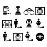 Prisoner, crime, slavery vector icons set Stock Photo