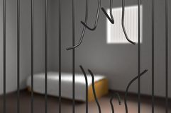 Prisoner escaped from prison. Bent bars in jail. 3D rendered illustration. Stock Photos