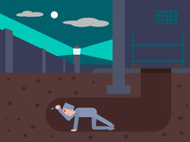 Prisoner escapes from prison through a tunnel. Cartoon colorful vector illustration Stock Photo