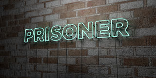 PRISONER - Glowing Neon Sign on stonework wall - 3D rendered royalty free stock illustration Stock Photos