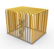 Prisoner in golden jail Royalty Free Stock Photo